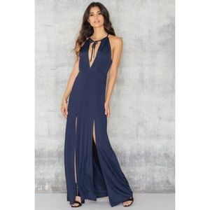 WYLDR Navy Maxi with Slits on Both Legs & Deep V